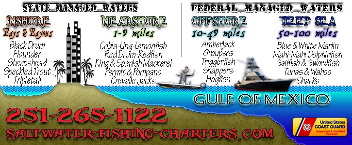 Nearshore Fishing Charter Areas in Orange Beach